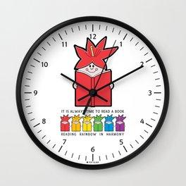 Reading Rainbow in Harmony - Red Wall Clock