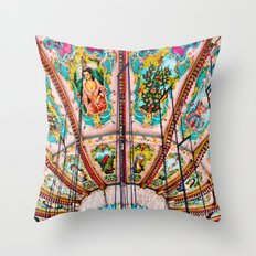 Victorian Carousel Swings Art Detail Throw Pillow