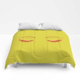 Betty Gone Batty (Red on Chartreuse Edition) Comforters