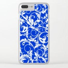 Sapphire Blue Swirls Clear iPhone Case