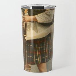 Vintage Illustration of a Scottish Bagpiper (1898) Travel Mug