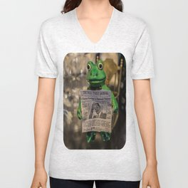 Froggy Reads the Wall Street Journal Unisex V-Neck