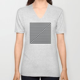 op art - inverted black and white stripes Unisex V-Neck