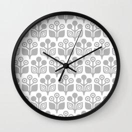Mid Century Garden Flower Pattern Grey Wall Clock