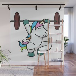 Weightlifting Unicorn fitness gift idea gym weight Wall Mural
