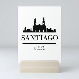SANTIAGO DE CHILE BLACK SILHOUETTE SKYLINE ART Mini Art Print