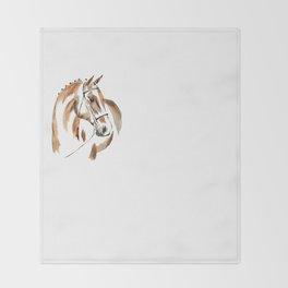 Bay Watercolour Horse Throw Blanket