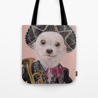 mexican Tote Bags featuring Mexican Chihuahua by Rachel Waterman