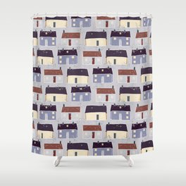 Houses Village Vector Pattern Repeat Seamless Background Shower Curtain