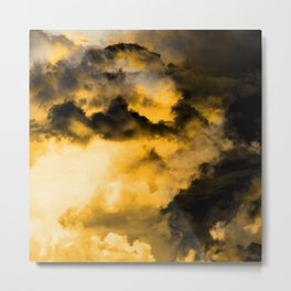 Vitality - Cloudy Abstract In Orange And Black Metal Print