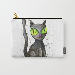 Black cat with green eyes Carry-All Pouch