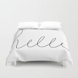 Hello Hand Lettering - black and white Duvet Cover