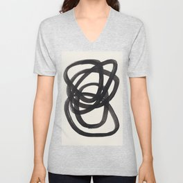 Mid Century Modern Minimalist Abstract Art Brush Strokes Black & White Ink Art Spiral Circles Unisex V-Neck