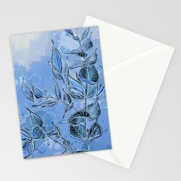 Blue Leaves and Bubbles Stationery Cards