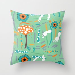 Playful mushroom and flowers Throw Pillow