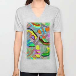 seamless pattern with shoes Unisex V-Neck