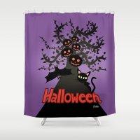 halloween Shower Curtains featuring Halloween by BATKEI