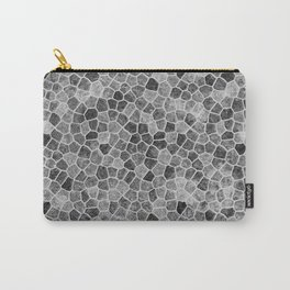 The Paths Taken Black and White Cobblestone Pattern Carry-All Pouch