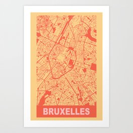 Bruxelles, Belgique, city map, Golden Yellow Art Print