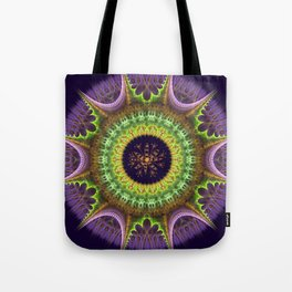 Groovy mandala with doodle flower Tote Bag