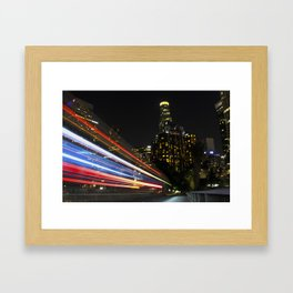 Light trails over Downtown Los Angeles Framed Art Print