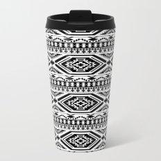 Aztec Geometric Print - Black Metal Travel Mug