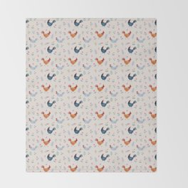 Little Hens (ivory) Throw Blanket