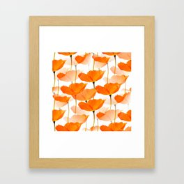 Orange Poppies On A White Background #decor #society6 #buyart Framed Art Print