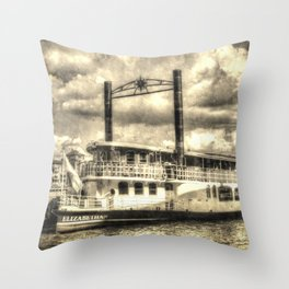 The Elizabethan Paddle Steamer Vintage Throw Pillow