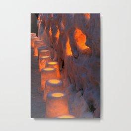snow lanterns in japan Metal Print