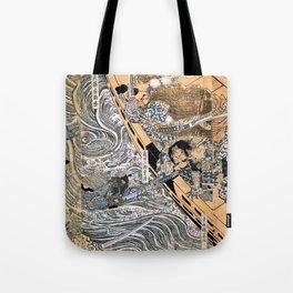 Kuniyoshi Utagawa, The ghost of Taira Tomomori, Daimotsu bay Tote Bag