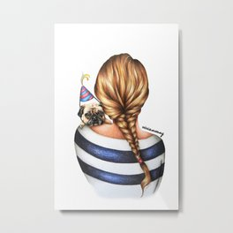 Brunette Braid Hairstyle Girl with Pug Dog Drawing Metal Print