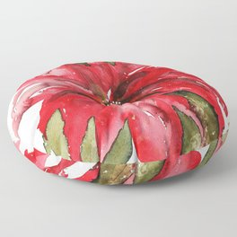 Bright Red Poinsettia Watercolor Floor Pillow