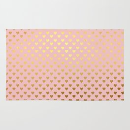 Gold and pink sparkling and shiny Hearts pattern Rug