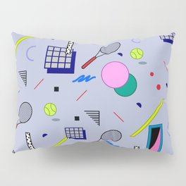 Seamless colorful pattern in retro style on grey background with tennis ball and tennis racket Pillow Sham