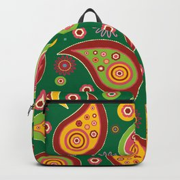 Oriental Persian Paisley - Green Yellow Red Backpack