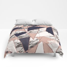 Geometric Navy Blue Peach Marble Rose Gold Triangle Comforters