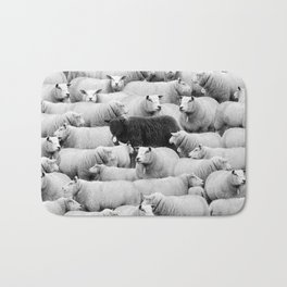 Different is 'Okay' Black Sheep of the Family black and white photograph Bath Mat
