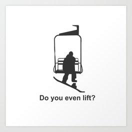 Snowboarding humorous fun mountain winter sports Art Print