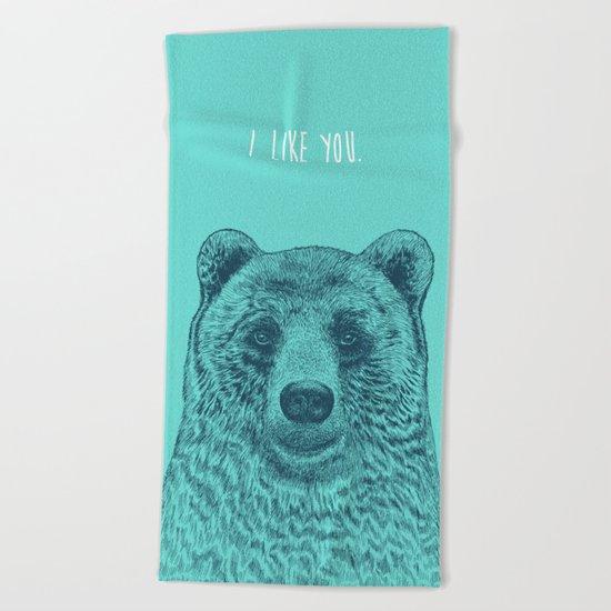 I Like You (Bear) Beach Towel