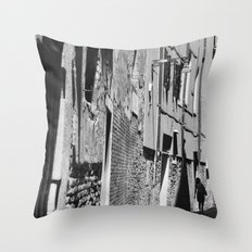 Into the shadows b&w Throw Pillow