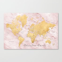 "Adventure awaits, gold and pink marble detailed world map, ""Sherry"" Canvas Print"