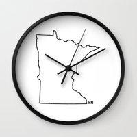 minnesota Wall Clocks featuring Minnesota by The Happy Taurus