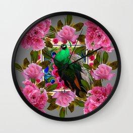 PINK ROSE CLUSTERS & GREEN PEACOCK GREY ART Wall Clock