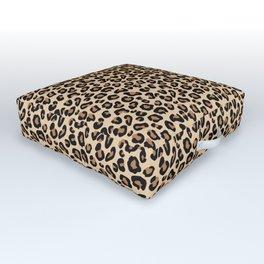 Leopard Print, Black, Brown, Rust and Tan Outdoor Floor Cushion
