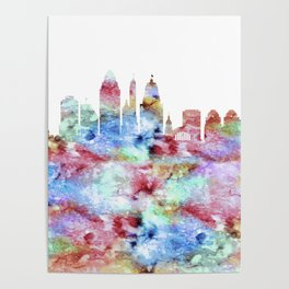 Cincinnati City Skyline Ohio Poster