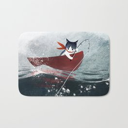 """Catfish"" - cute fantasy cat mermaids illustration Bath Mat"