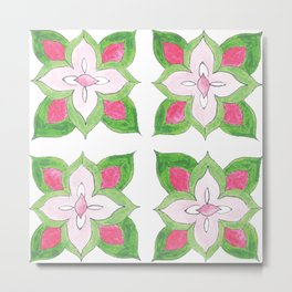 Preppy Pink Summer Tile Metal Print