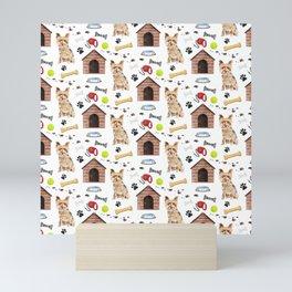 Yorkshire Terrier Dog Half Drop Repeat Pattern Mini Art Print