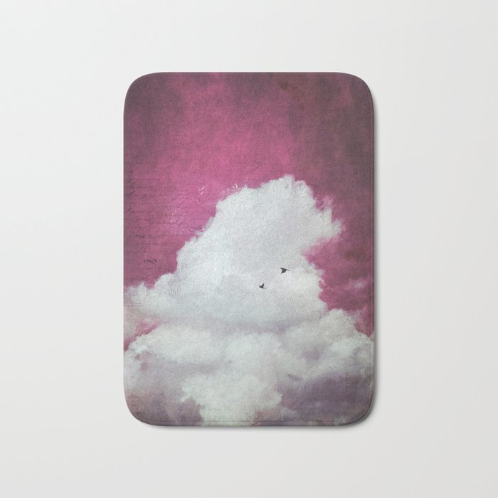 the cloud - bright red sky version Bath Mat